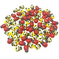 Mini 9x12mm Mixed Yellow Bees & Red Ladybirds Wooden Craft Card Wood Toppers