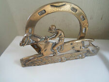 Decorative VINTAGE Rustic Lovely Brass Letter Rack Race Horse+Jockey + Horseshoe