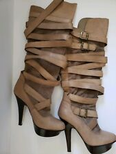 Bebe Jenna Boots 10 Leather Tan Beige