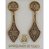 Damascene Gold Star of David Deltoid Drop Earrings by Midas of Toledo Spain 2112