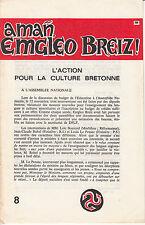 L'ACTION POUR LA CULTURE BRETONNE. N° 8 - 1976. Plaquette de 15 pages.
