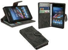Handy-Tasche Ledertasche für Sony Xperia Z1 Kompakt D5503 + Folie Anthrazit