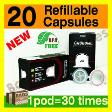 NEW 20 Refillable Empty Coffee Capsules Pods Compatible with Nespresso Machine