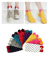 1Pair Fashion Women's Girls Korean Cute Bowknot Candy Color Cozy Dot Short Socks