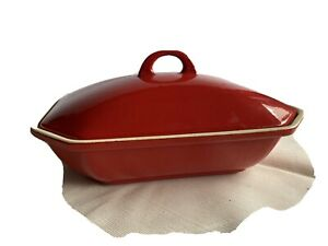 Griswold Red/Cream Enamel Ware  Rectangle Baking Dish #  69 With Lid #66