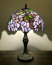 """Enjoy Table Lamp Stained Glass Purple Flower Antique Vintage 19""""H*12""""W"""