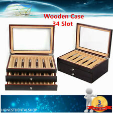 34 Slot Fountain Pen Display Case Collector Storage Organizer 3-Layer Wood Box
