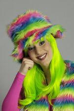plüschhut hippie-hut Mujer Neón Multicolor Flower Power década de los 70 80 Años