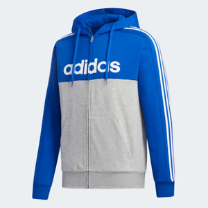 Adidas Men's Essentials Colorblock Hooded Track Jacket, Royal Blue / White