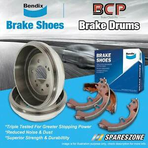 Rear Brake Drums + Bendix Brake Shoes for Toyota Hiace SBV RCH12 2.4L 1995-2005