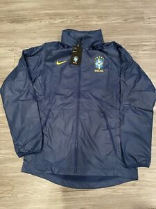 Nike Brasil National Team All-Weather Raglan Jacket Blue CN7063-427 Brazil Sz L