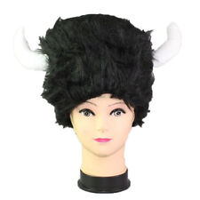 Party Hat Plush Soft  Black Buffalo Hat with Horns for Party Costumes