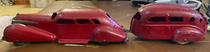 1930's WYANDOTTE CADILLAC LASALLE PRESSED STEEL SEDAN CAR W AIRSTREAM CAMPER