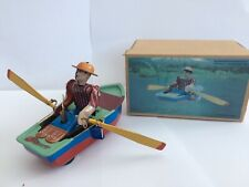 WIND-UP ROWING BOAT TINPLATE CLOCKWORK TOY BOXED