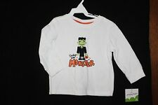 """12M Unisex Jumping Bean Halloween White """"Daddy's Little Monster"""" LS Top (NWT)"""
