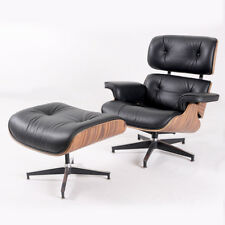 Mid Century Eames Lounge Chair & Ottoman  Genuine  Black Leather Palisander Wood