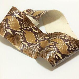 SNAKE SKIN SNAKESKIN HIDE leather Python Print Craft Supply Marsh Brown