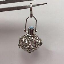 Prayer Box Pendant Locket Filigree Silver Hearts Round Dangle Opal Pendant 4.9gr