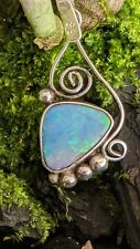Stunning Australian Opal Sterling Silver Hand Made Necklace .A29f