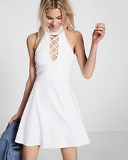EXPRESS Medium WHITE LACE-UP CHOKER NECK SKATER DRESS sleeveless halter m 8-10