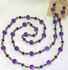 "32"" HAND KNOTTED DARK PURPLE GLASS BEADED NECKLACE & EARRING SET AWESOME"