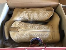 Vintage Justin Boots Women's Size US 8.5B Saddle Tan Buffalo - Made in USA Boxed