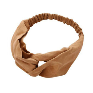 Vintage Suede Headband Cross Knot Elastic Hair Bands Soft Solid Hair Accessories