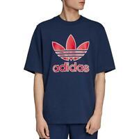 adidas Originals Mens Navy Logo Crewneck Graphic T-Shirt S BHFO 4177