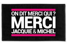 Serviette de plage, drap de bain, Merci Jacquie et Michel, microfibre Neuf
