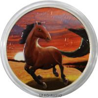 2014 United Kingdom Royal Mint Lunar Horse Sunset 1oz Silver Coin In Capsule
