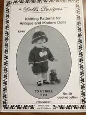 """Original Vintage Knitting Pattern for Antique & Modern 6"""" Boy Dolls 1992 Kp45"""