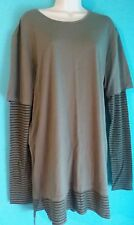 JACKSON EXTENDED LENGTH OLIVE SOLID SHIRT W THERMAL LONG SLEEVES WOMEN SIZE L