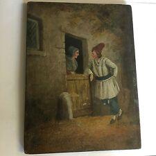 Antico OLIO SU PANNELLO WOMAN & MAN in stalla quando Jan Steen 1626-79