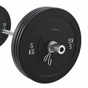 """6ft 1.8m Olympic Barbell Straight Bar for 2"""" Bumper  Plates w 2 Spring Collars"""