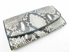 Genuine Python Snake Skin Leather Women Trifold Clutch Wallet Natural Free Ship