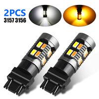2X 3157 Switchback LED Turn Signal Light 4157na 3457a LED Bulbs 3156 White Amber