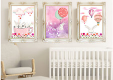 Bunny Rabbit Baby Girl Nursery Prints Set OF 3, Bunny Kids Bedroom Art