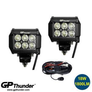 "2pcs 4"" Off Road 18W FLOOD LED Fog Lamp Work Light DRL Bar SUV w/Relay"