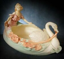 STUNNING, VERY LARGE ROYAL DUX CENTRE PIECE - GIRL in SWAN BOAT