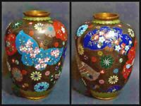 Bronze Cloisonne Vase Flower Butterfly Motif Old Japanese Antique Meiji Japan