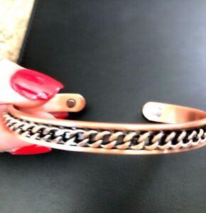 Copper Magnetic Bracelet Arthritis Men Women 5000 gauss 2 POWERFUL Magnets NEW