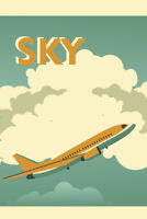 Sky Airplane Flying in Clouds Vintage Travel Tourism Ad Poster 12x18