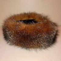SURELL* LOVELY!! BROWN FOX FUR HEADBAND HAT OR SCARF COLLAR VELVET LINED