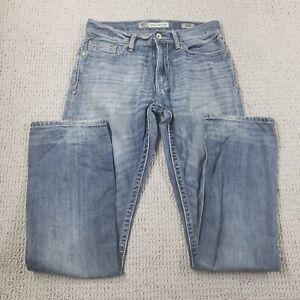 BKE Buckle Jake Straight Men's 30 L Cotton Distressed Denim Blue Jeans Med Wash