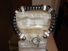 """Men's 8 3/4"""" 10 mm Black Rondelle Hematite and Sterling Silver Beaded Bracelet"""