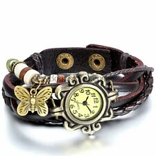 Vintage Casual Braided Leather Butterfly Charm Bracelet Girls Analog Wrist Watch