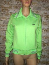Adidas Vintage Women's Size Medium Full Zip Track Jacket Green w/ Gray Striping
