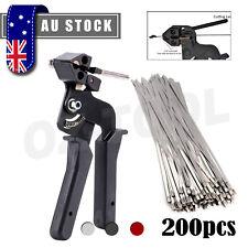 200pcs Stainless Steel Exhaust Wrap Zip Cable Tie Gun Auto Tightener Cut Fasten