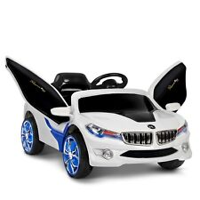 Kids Ride on Car w/ Remote Control Blue White Childs Cool MP3 player 2 x 6v NEW