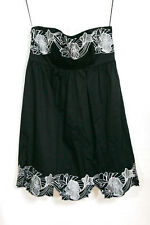 BLACK STRAPLESS DRESS WITH SILVER FLORAL EMBROIDERY TRIM SIZE 12 BY MISS POSH
